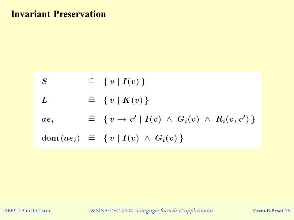 2009: J Paul GibsonT&MSP-CSC 4504 : Langages formels et applications Event-B/Proof.59 Invariant Preservation