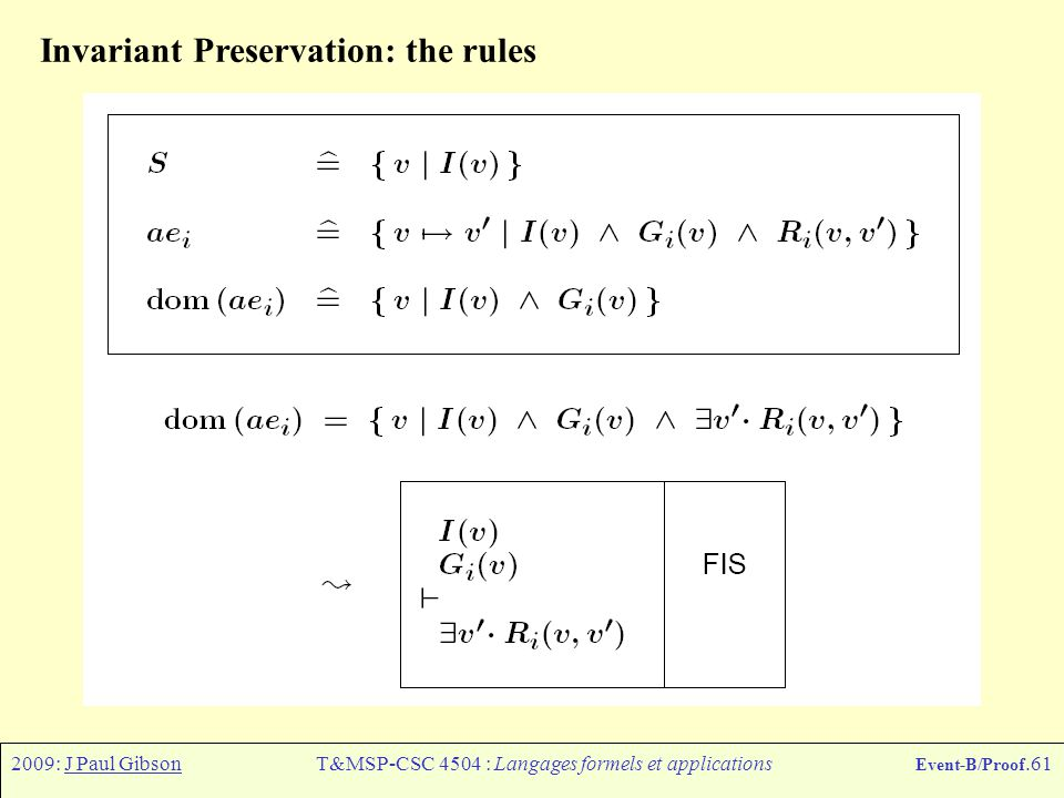 2009: J Paul GibsonT&MSP-CSC 4504 : Langages formels et applications Event-B/Proof.61 Invariant Preservation: the rules