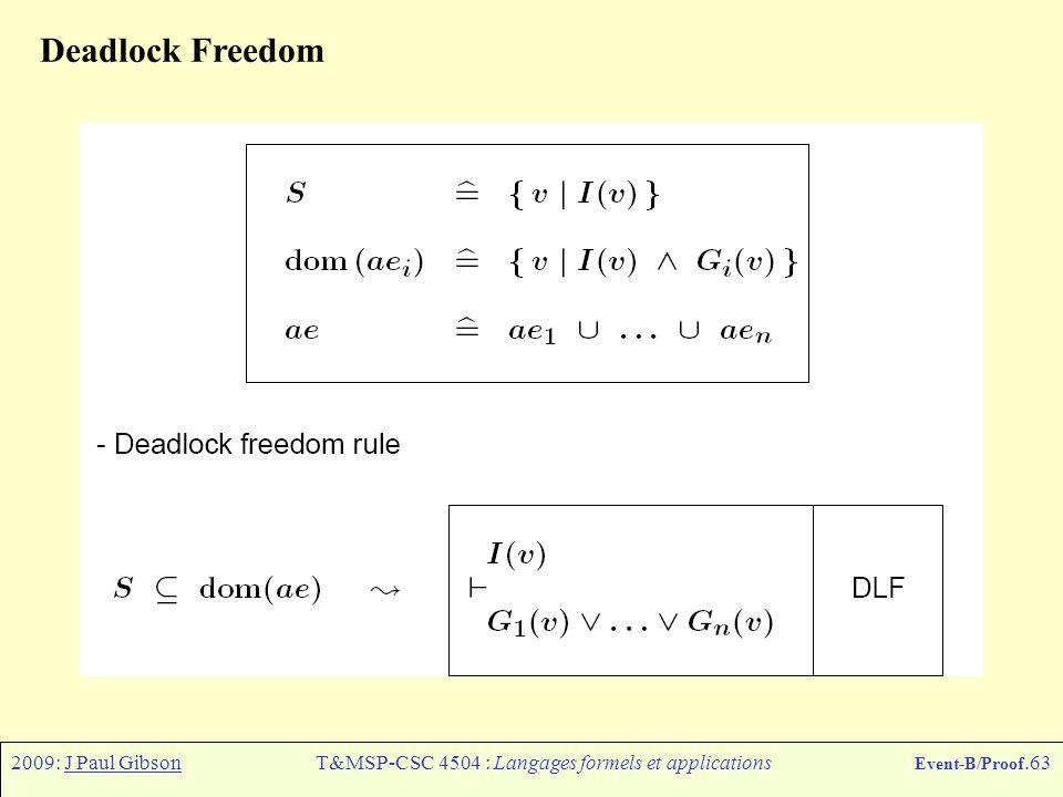 2009: J Paul GibsonT&MSP-CSC 4504 : Langages formels et applications Event-B/Proof.63 Deadlock Freedom