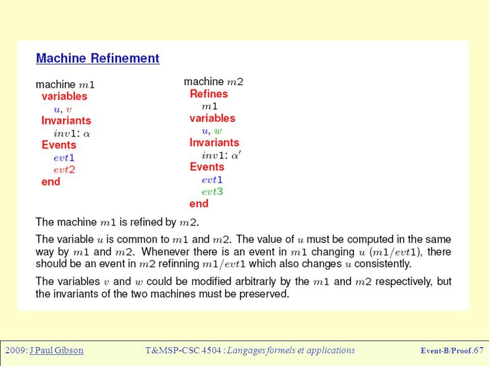 2009: J Paul GibsonT&MSP-CSC 4504 : Langages formels et applications Event-B/Proof.67