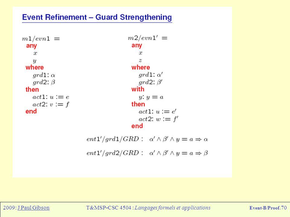 2009: J Paul GibsonT&MSP-CSC 4504 : Langages formels et applications Event-B/Proof.70