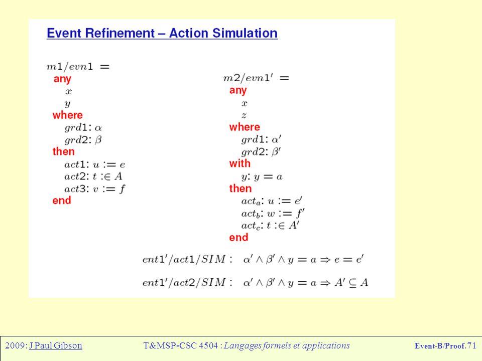 2009: J Paul GibsonT&MSP-CSC 4504 : Langages formels et applications Event-B/Proof.71