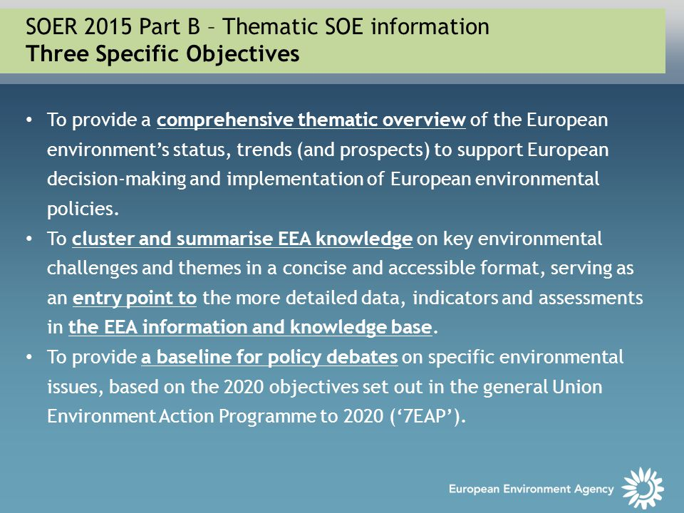 To provide a comprehensive thematic overview of the European environment's status, trends (and prospects) to support European decision-making and impl