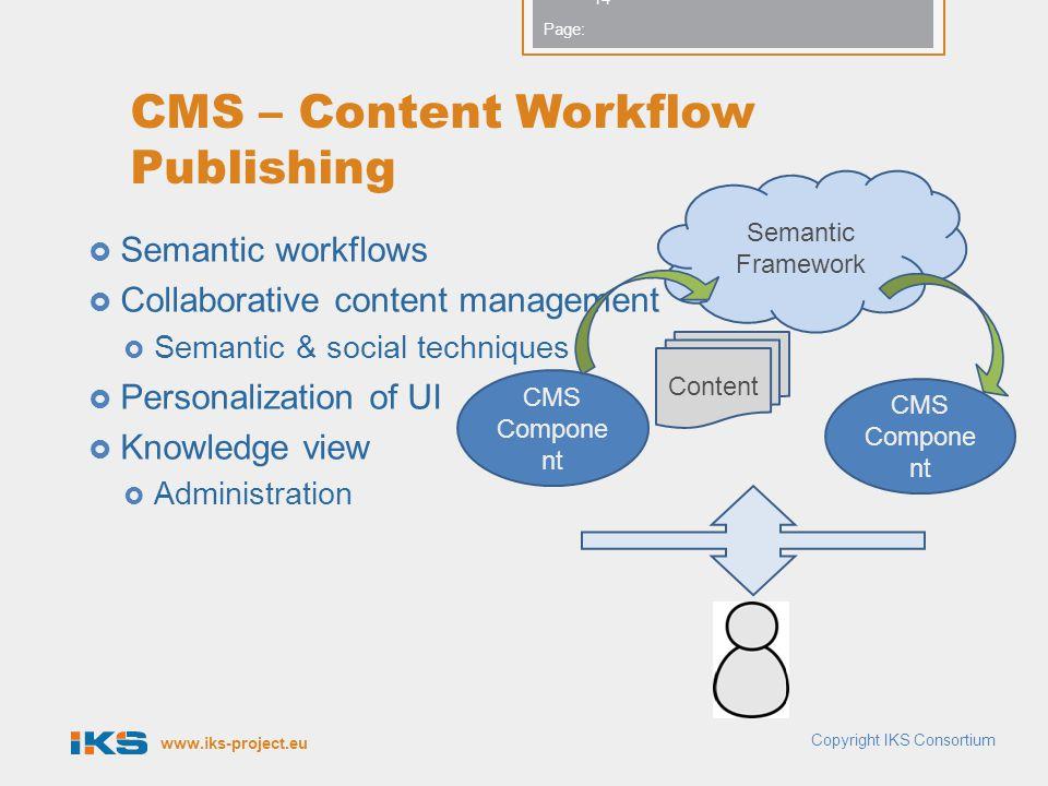www.iks-project.eu Page: CMS – Content Workflow Publishing  Semantic workflows  Collaborative content management  Semantic & social techniques  Pe