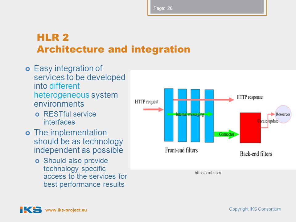 www.iks-project.eu Page: HLR 2 Architecture and integration  Easy integration of services to be developed into different heterogeneous system environ