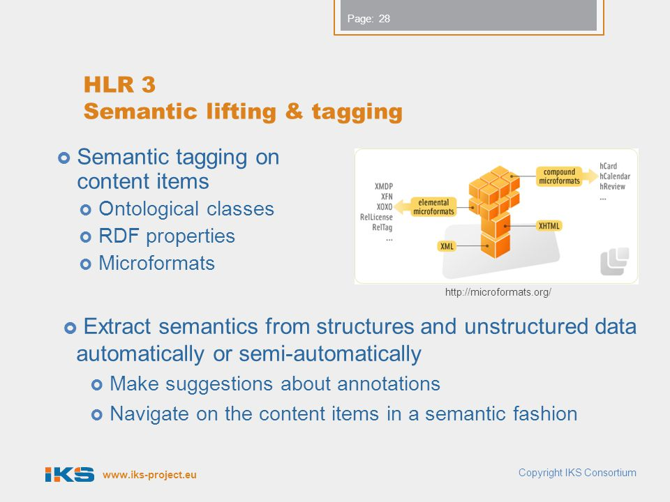 www.iks-project.eu Page: HLR 3 Semantic lifting & tagging  Semantic tagging on content items  Ontological classes  RDF properties  Microformats Co