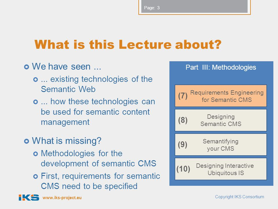 www.iks-project.eu Page: What is this Lecture about?  We have seen... ... existing technologies of the Semantic Web ... how these technologies can