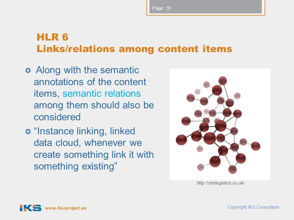 www.iks-project.eu Page: HLR 6 Links/relations among content items  Along with the semantic annotations of the content items, semantic relations amon