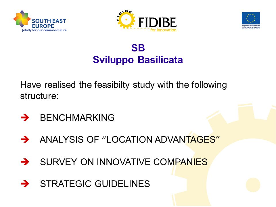 SB Sviluppo Basilicata Have realised the feasibilty study with the following structure:  BENCHMARKING  ANALYSIS OF LOCATION ADVANTAGES  SURVEY ON INNOVATIVE COMPANIES  STRATEGIC GUIDELINES