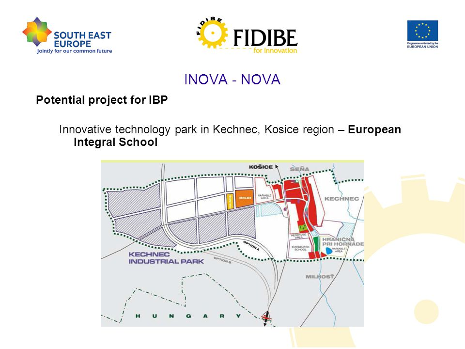 INOVA - NOVA Potential project for IBP Innovative technology park in Kechnec, Kosice region – European Integral School