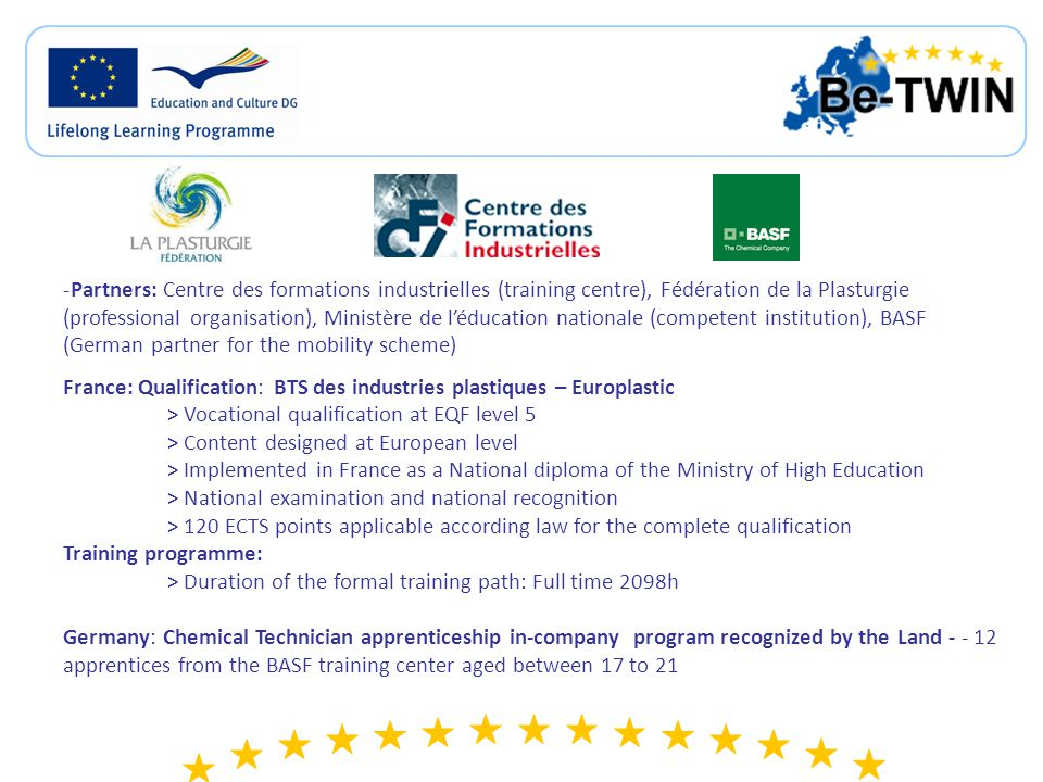 30 training centres (full time or apprenticeship) are currently running the BTS des industries plastiques – Europlastic and are in in charge of the small part of the examination called CCF.
