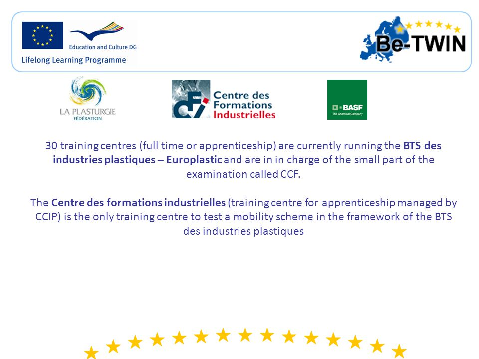 CS1: EUROPLASTIC experimentation In Germany The Los, achieved during the exchange, will be: > assessed by a teacher on the part of their diploma regarding chemical processes; > validated by the training center (accepted and integrated to the training path); > be recognized by the Land.