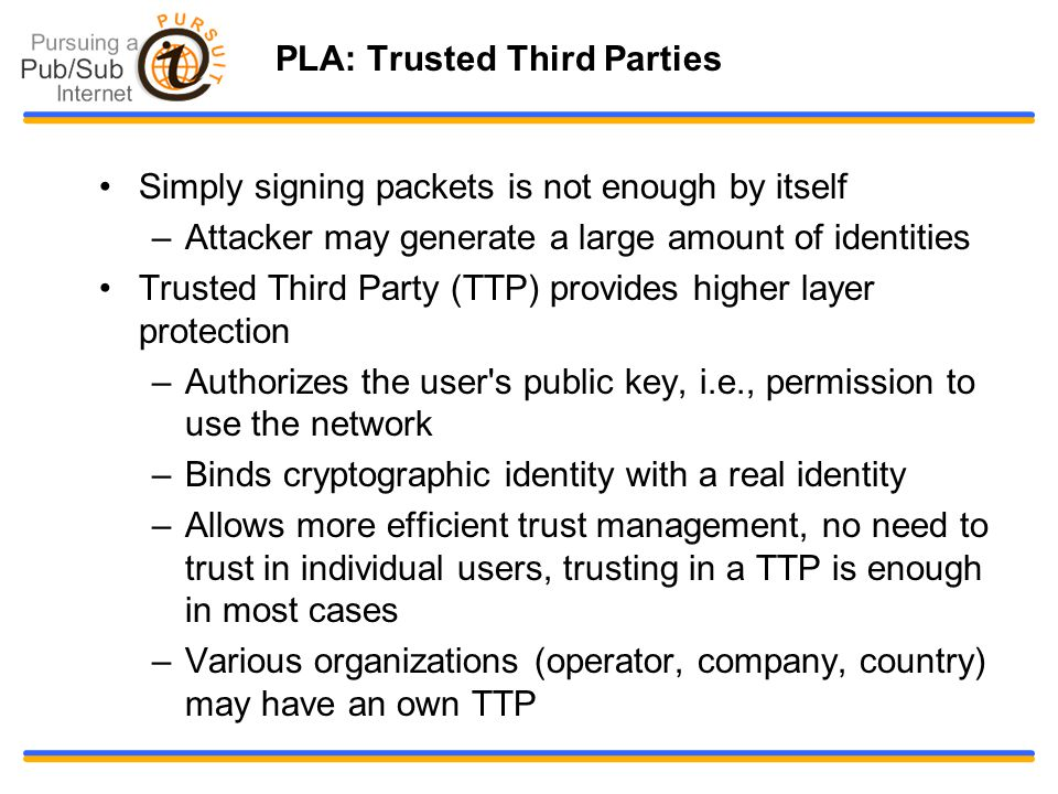 PLA: Trusted Third Parties Simply signing packets is not enough by itself –Attacker may generate a large amount of identities Trusted Third Party (TTP) provides higher layer protection –Authorizes the user s public key, i.e., permission to use the network –Binds cryptographic identity with a real identity –Allows more efficient trust management, no need to trust in individual users, trusting in a TTP is enough in most cases –Various organizations (operator, company, country) may have an own TTP