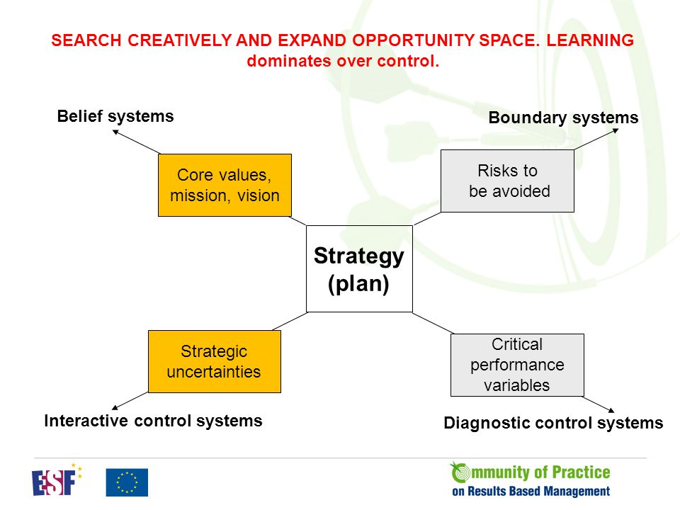 Boundary systems Strategy (plan) Core values, mission, vision Critical performance variables Strategic uncertainties Risks to be avoided Interactive control systems Diagnostic control systems Belief systems CONSTRAIN SEARCH BEHAVIOUR AND ALLOCATE SCARCE ATTENTION.