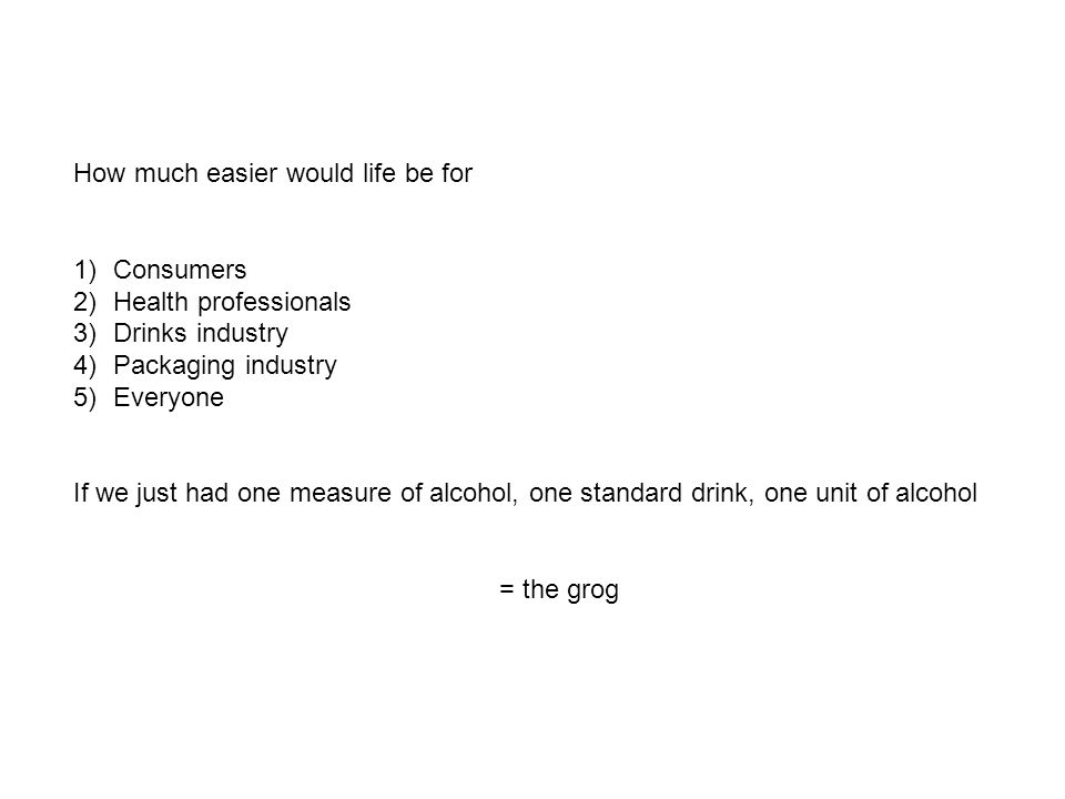 How much easier would life be for 1)Consumers 2)Health professionals 3)Drinks industry 4)Packaging industry 5)Everyone If we just had one measure of alcohol, one standard drink, one unit of alcohol = the grog