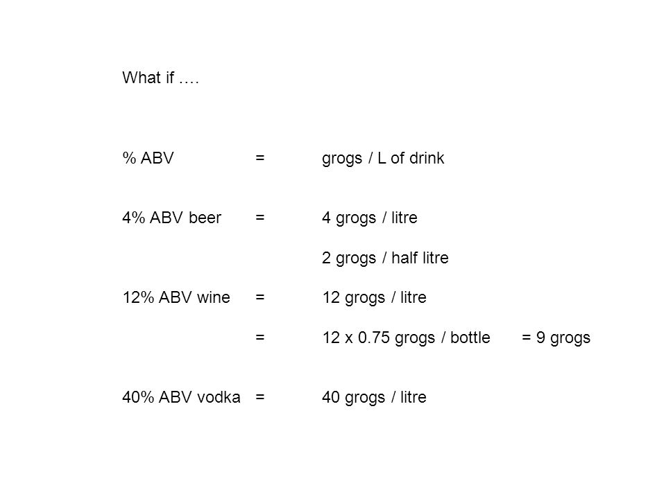 What if …. % ABV = grogs / L of drink 4% ABVbeer = 4 grogs / litre 2 grogs / half litre 12% ABV wine= 12 grogs / litre = 12 x 0.75 grogs / bottle= 9 g