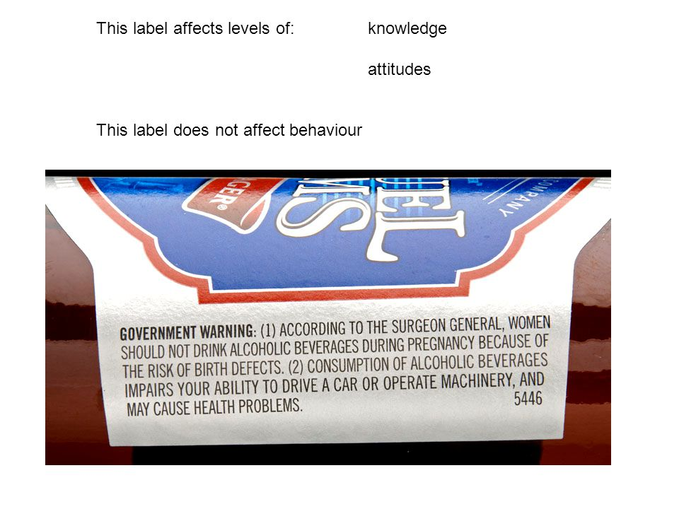 This label affects levels of:knowledge attitudes This label does not affect behaviour
