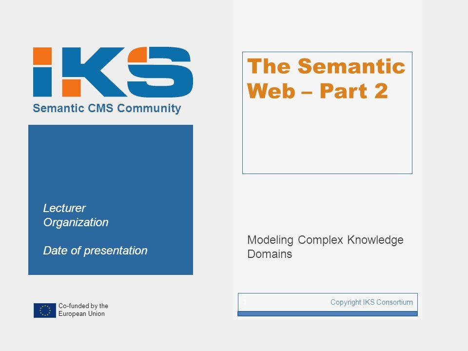 www.iks-project.eu Page: RDFS - Example Copyright IKS Consortium 22 ex:CarManufacturer rdf:type ex:myCarex:Jaguar ex:Brand ex:Car rdf:type rdfs:domain rdf:range ex:Company ex:Vehicle rdfs:subClassOf RDF Assertional knowledge RDFS Terminological knowledge class property class ex:Brand