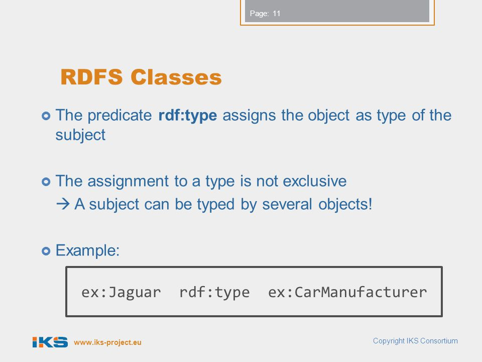 www.iks-project.eu Page: RDFS Classes  The predicate rdf:type assigns the object as type of the subject  The assignment to a type is not exclusive  A subject can be typed by several objects.