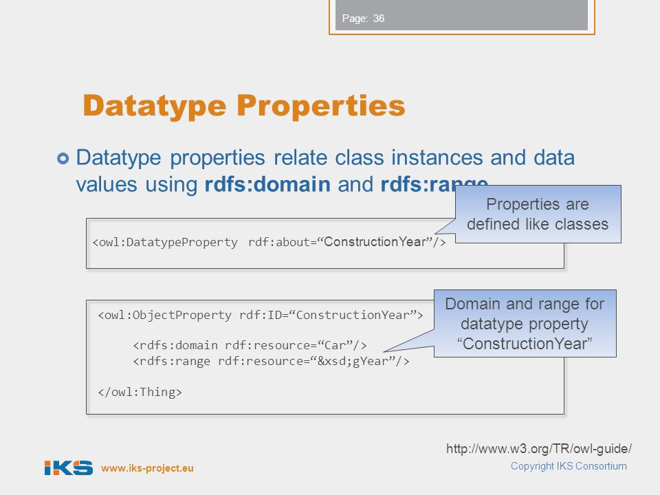 www.iks-project.eu Page:  Datatype properties relate class instances and data values using rdfs:domain and rdfs:range.