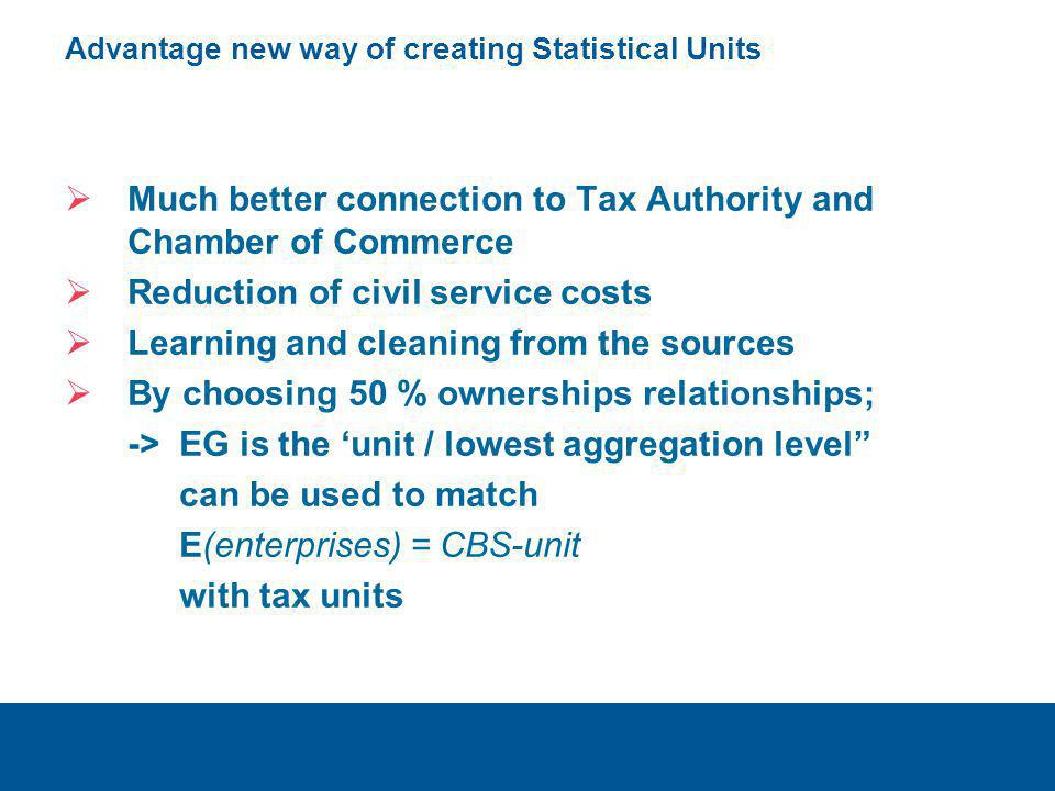 Advantage new way of creating Statistical Units  Much better connection to Tax Authority and Chamber of Commerce  Reduction of civil service costs 