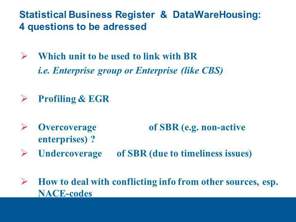 Statistical Business Register & DataWareHousing: 4 questions to be adressed  Which unit to be used to link with BR i.e. Enterprise group or Enterpris