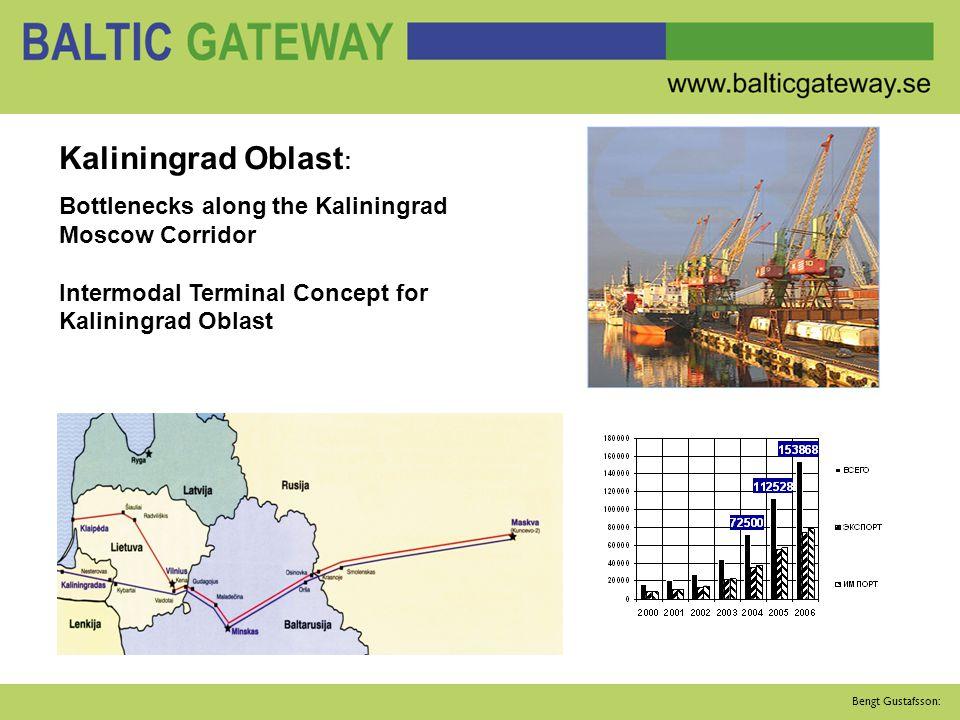 Bengt Gustafsson: Kaliningrad Oblast : Bottlenecks along the Kaliningrad Moscow Corridor Intermodal Terminal Concept for Kaliningrad Oblast