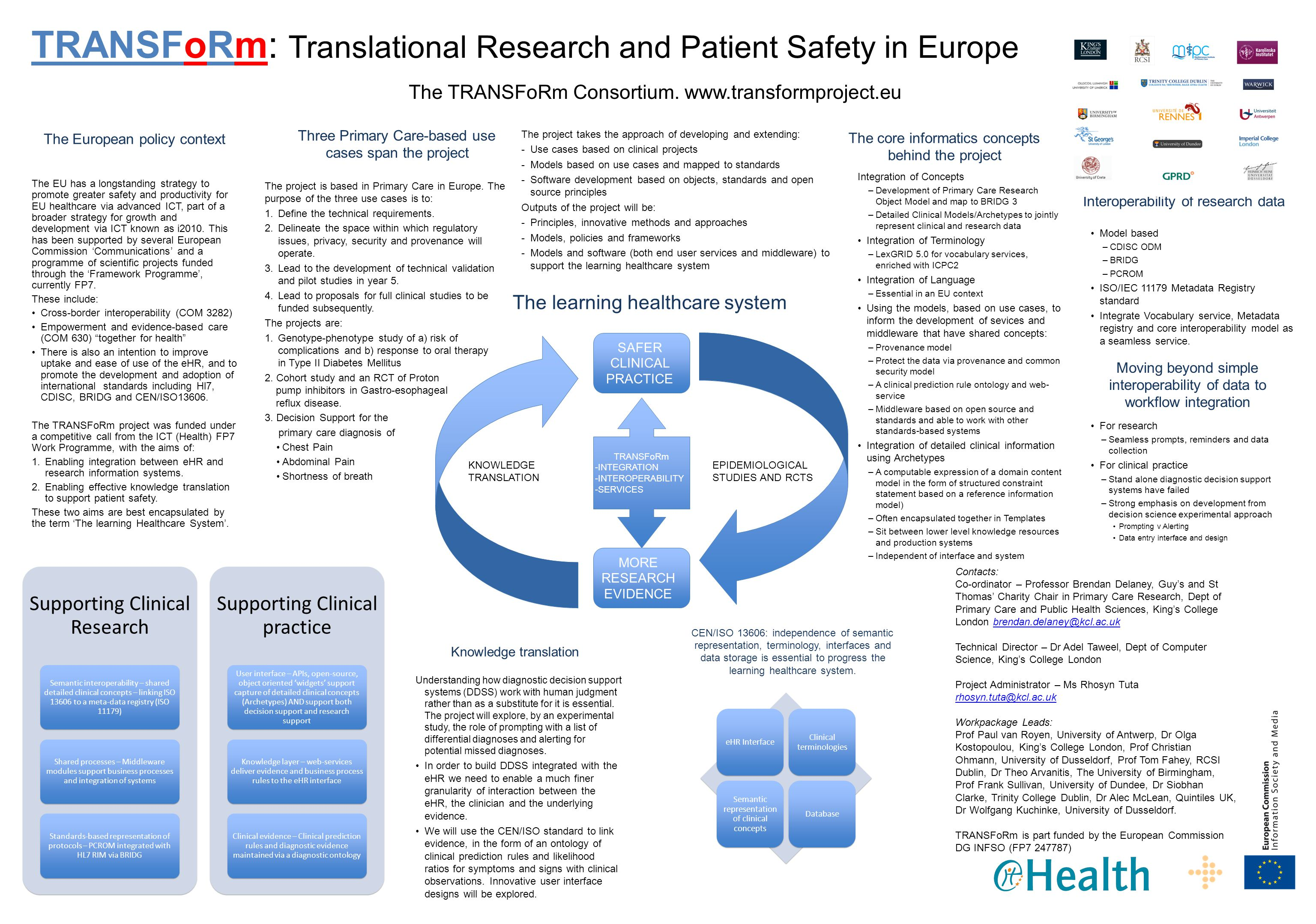 TRANSFoRm: Translational Research and Patient Safety in Europe The TRANSFoRm Consortium. www.transformproject.eu Contacts: Co-ordinator – Professor Br