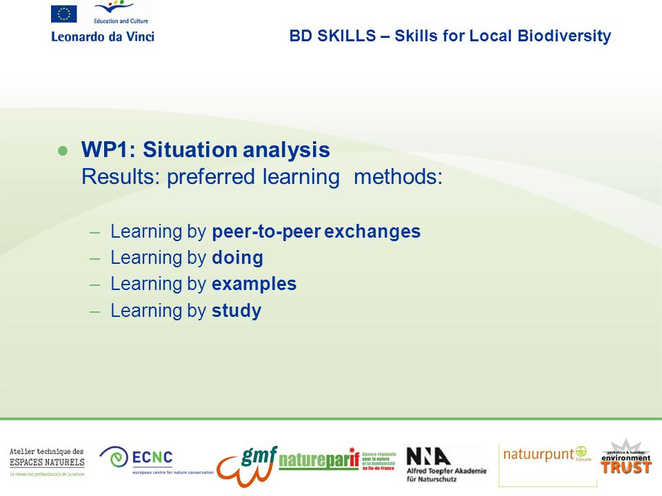 BD SKILLS – Skills for Local Biodiversity l Results Situation analysis - preferred subjects: –biodiversity –ecosystem services –multifunctional land use and co-benefits –green infrastructure –data and information –communication and participation