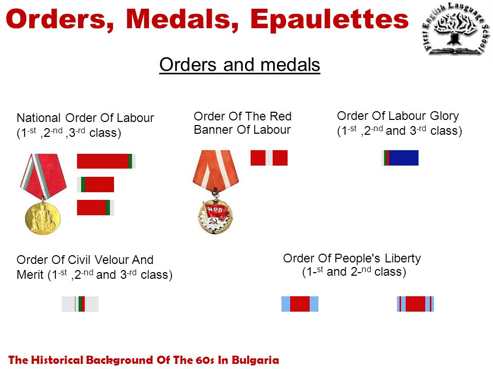 The Historical Background Of The 60s In Bulgaria Orders, Medals, Epaulettes Orders and medals National Order Of Labour (1 -st,2 -nd,3 -rd class) Order