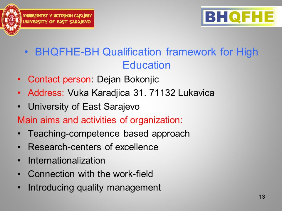 BHQFHE-BH Qualification framework for High Education Contact person: Dejan Bokonjic Address: Vuka Karadjica 31.