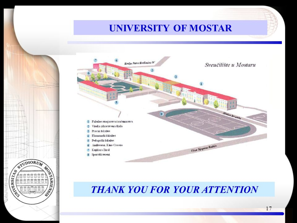 17 THANK YOU FOR YOUR ATTENTION UNIVERSITY OF MOSTAR