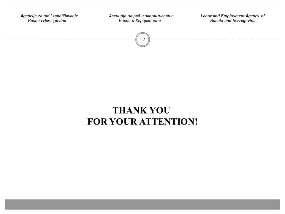 Agencija za rad i zapošljavanje Bosne i Hercegovine Агенција зa рaд и запошљaвaње Босне и Хeрцeговине Labor and Employment Agency of Bosnia and Herzegovina 12 THANK YOU FOR YOUR ATTENTION!