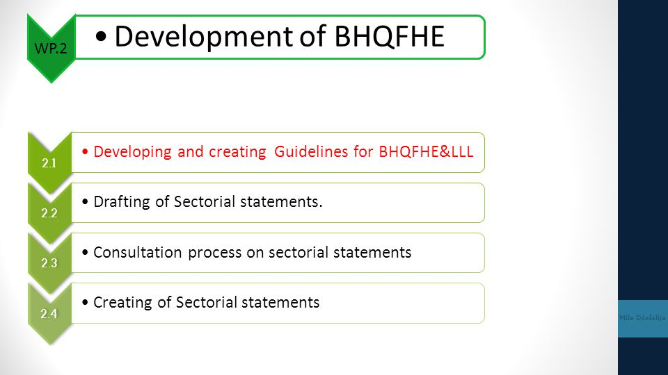 WP.2 Development of BHQFHE Mile Dželalija 2.1 Developing and creating Guidelines for BHQFHE&LLL 2.2 Drafting of Sectorial statements. 2.3 Consultation