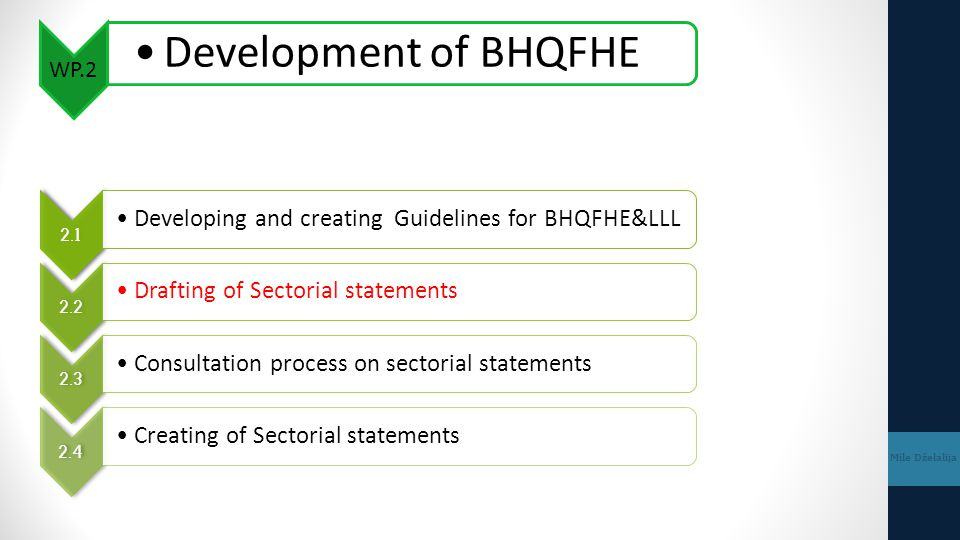 WP.2 Development of BHQFHE Mile Dželalija 2.1 Developing and creating Guidelines for BHQFHE&LLL 2.2 Drafting of Sectorial statements 2.3 Consultation