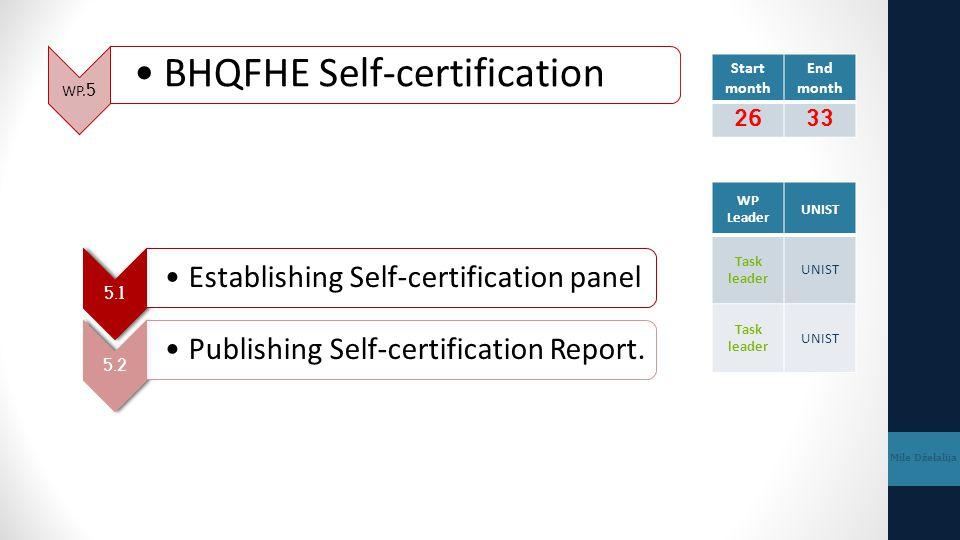 WP.5 BHQFHE Self-certification Mile Dželalija 5.1 Establishing Self-certification panel 5.2 Publishing Self-certification Report. Start month End mont