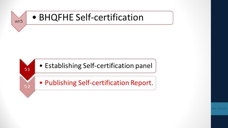 WP.5 BHQFHE Self-certification Mile Dželalija 5.1 Establishing Self-certification panel 5.2 Publishing Self-certification Report.