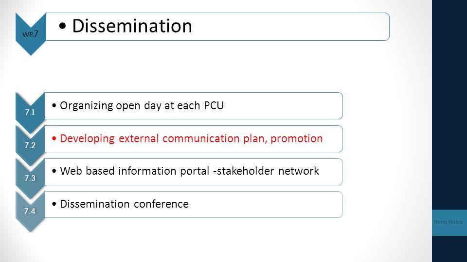 WP.7 Dissemination Haris Muhic 7.1 Organizing open day at each PCU 7.2 Developing external communication plan, promotion 7.3 Web based information por