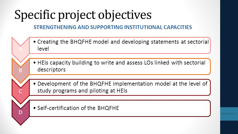 WP.2 Development of BHQFHE Mile Dželalija 2.1 Developing and creating Guidelines for BHQFHE&LLL 2.2 Drafting of Sectorial statements 2.3 Consultation process on sectorial statements 2.4 Creating of Sectorial statements