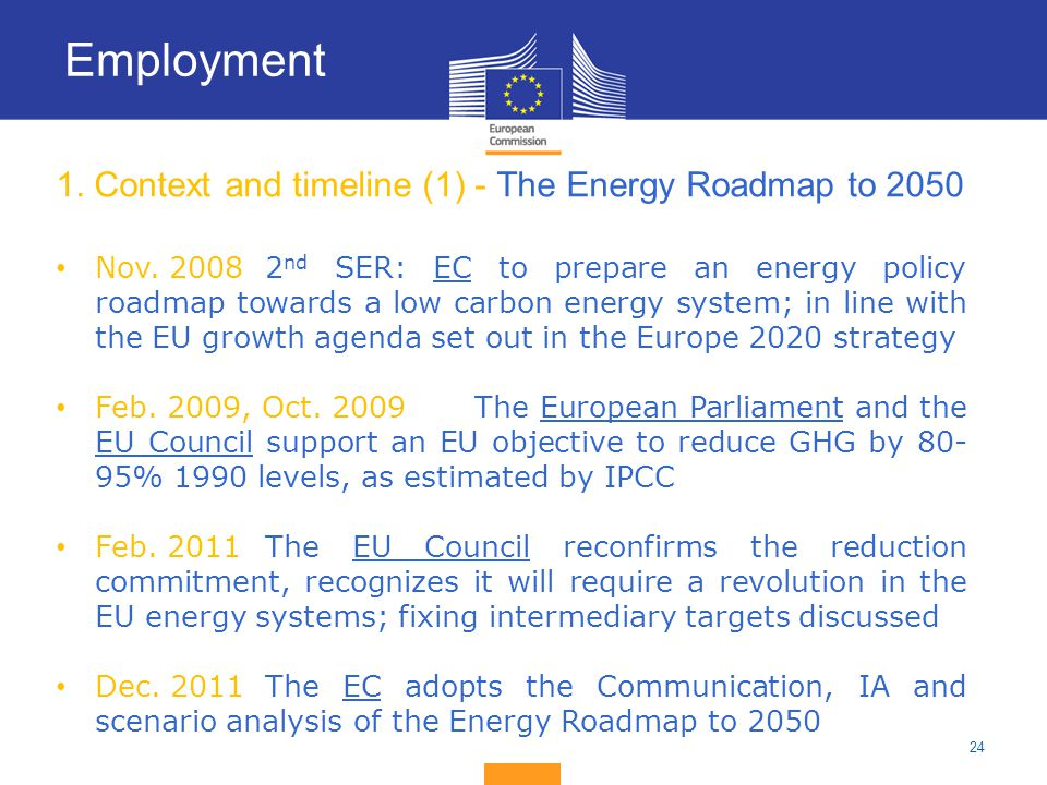 24 1. Context and timeline (1) - The Energy Roadmap to 2050 Nov. 20082 nd SER: EC to prepare an energy policy roadmap towards a low carbon energy syst