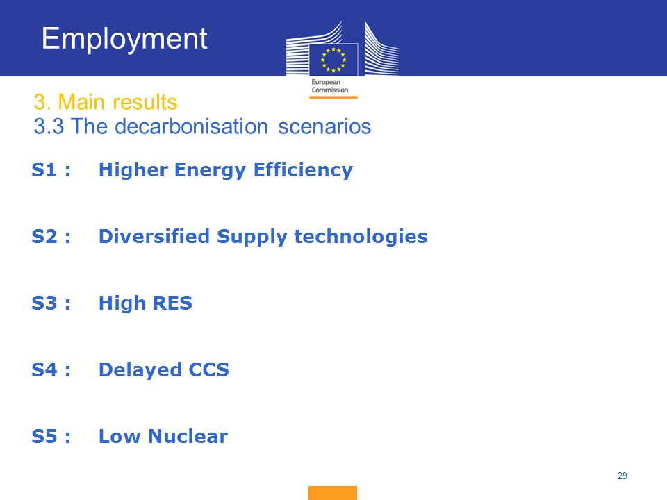 29 3. Main results 3.3 The decarbonisation scenarios Employment S1 : Higher Energy Efficiency S2 : Diversified Supply technologies S3 : High RES S4 :D