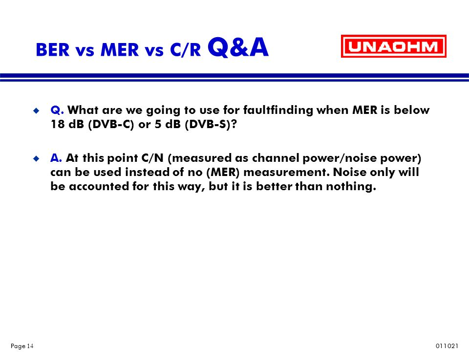 011021 Page 14 BER vs MER vs C/R Q&A u Q. What are we going to use for faultfinding when MER is below 18 dB (DVB-C) or 5 dB (DVB-S)? u A. At this poin