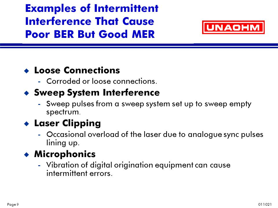 011021 Page 10 Troubleshooting By Measuring Both MER and BER u One way to determine if you have intermittent problems is to measure both MER and BER.
