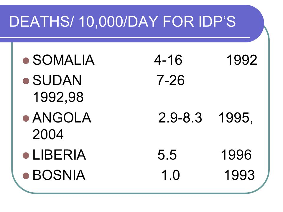 DEATHS/ 10,000/DAY FOR IDP'S SOMALIA SUDAN ,98 ANGOLA , 2004 LIBERIA BOSNIA
