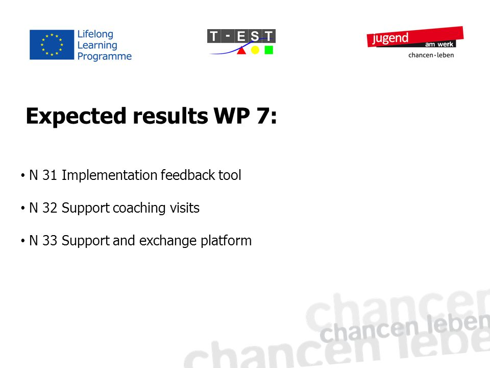 N 31 Implementation feedback tool N 32 Support coaching visits N 33 Support and exchange platform Expected results WP 7: