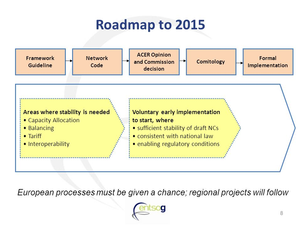 8 European processes must be given a chance; regional projects will follow Roadmap to 2015 Voluntary early implementation to start, where sufficient stability of draft NCs consistent with national law enabling regulatory conditions Framework Guideline Network Code Comitology Formal Implementation ACER Opinion and Commission decision Areas where stability is needed Capacity Allocation Balancing Tariff Interoperability