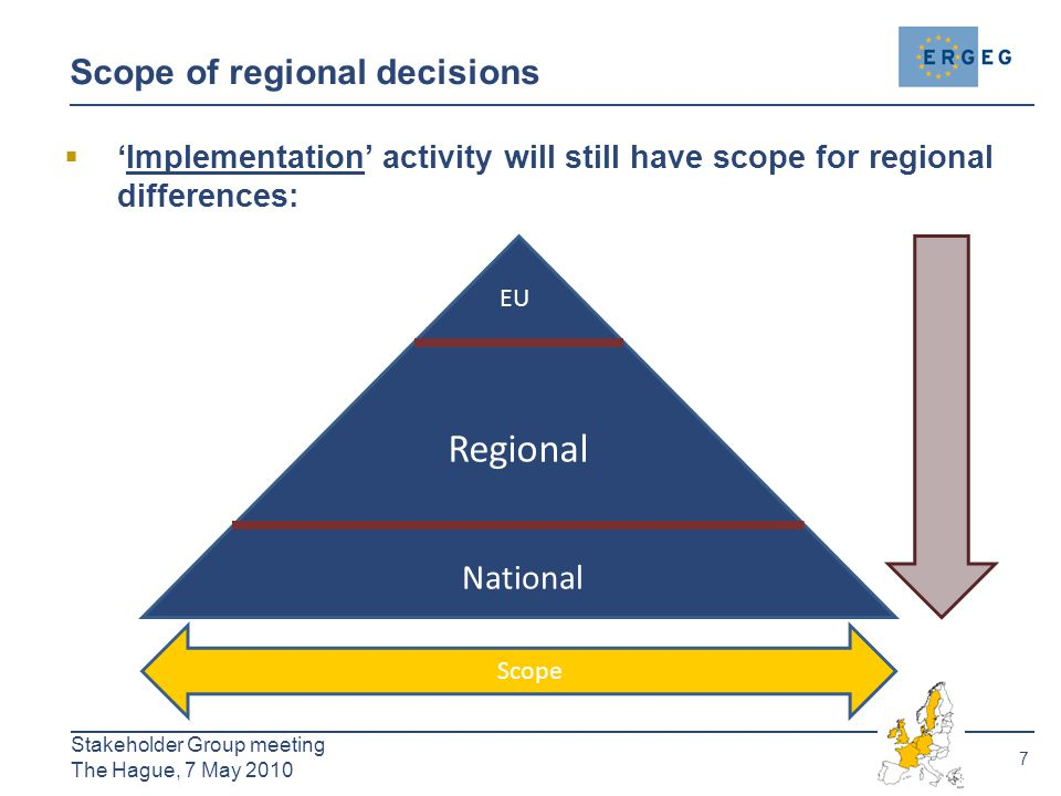 7 Stakeholder Group meeting The Hague, 7 May 2010 Scope of regional decisions  'Implementation' activity will still have scope for regional differences: EU Regional National Scope Detail 7