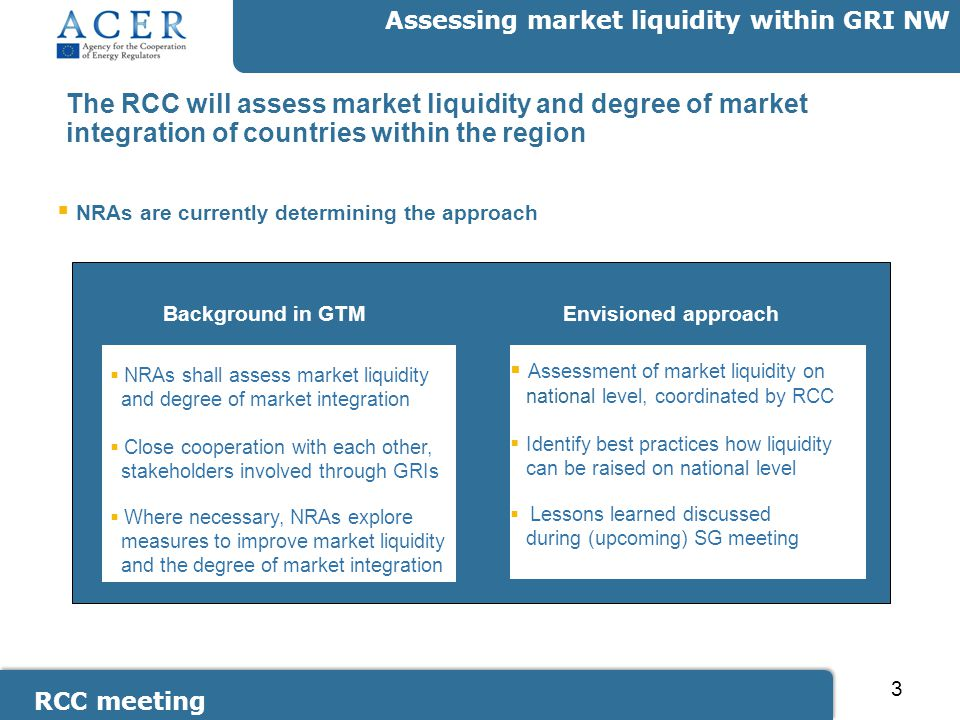 RCC meeting Assessing market liquidity within GRI NW 3 The RCC will assess market liquidity and degree of market integration of countries within the region  NRAs shall assess market liquidity and degree of market integration  Close cooperation with each other, stakeholders involved through GRIs  Where necessary, NRAs explore measures to improve market liquidity and the degree of market integration Envisioned approach  NRAs are currently determining the approach Background in GTM  Assessment of market liquidity on national level, coordinated by RCC  Identify best practices how liquidity can be raised on national level  Lessons learned discussed during (upcoming) SG meeting