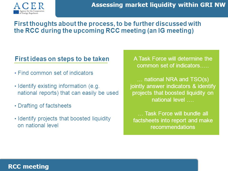 RCC meeting Assessing market liquidity within GRI NW First thoughts about the process, to be further discussed with the RCC during the upcoming RCC meeting (an IG meeting) Find common set of indicators Identify existing information (e.g.