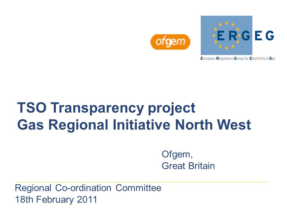 TSO Transparency project Gas Regional Initiative North West Ofgem, Great Britain Regional Co-ordination Committee 18th February 2011